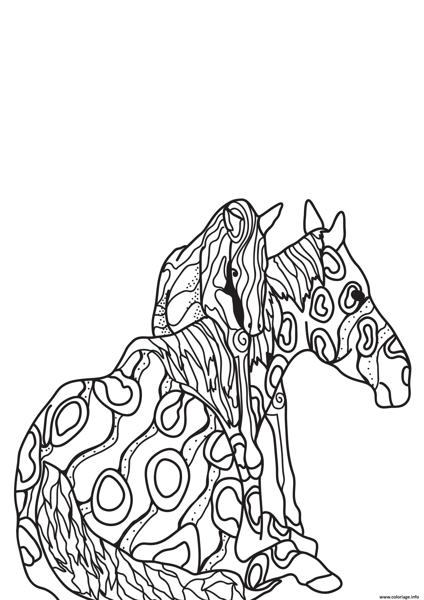 Dessin adulte chevaux 15 Coloriage Gratuit à Imprimer