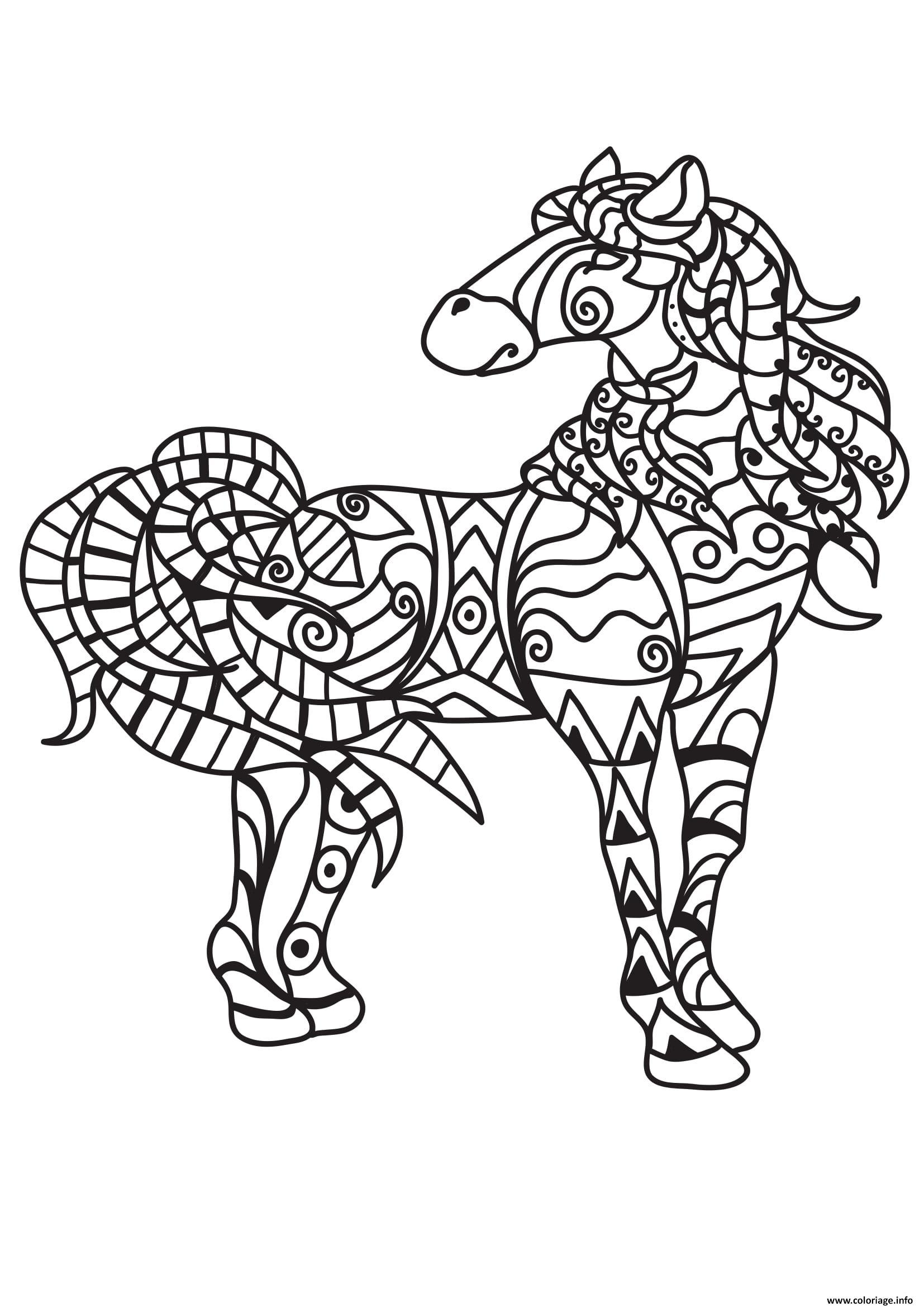 Dessin cheval pour adulte 26 Coloriage Gratuit à Imprimer