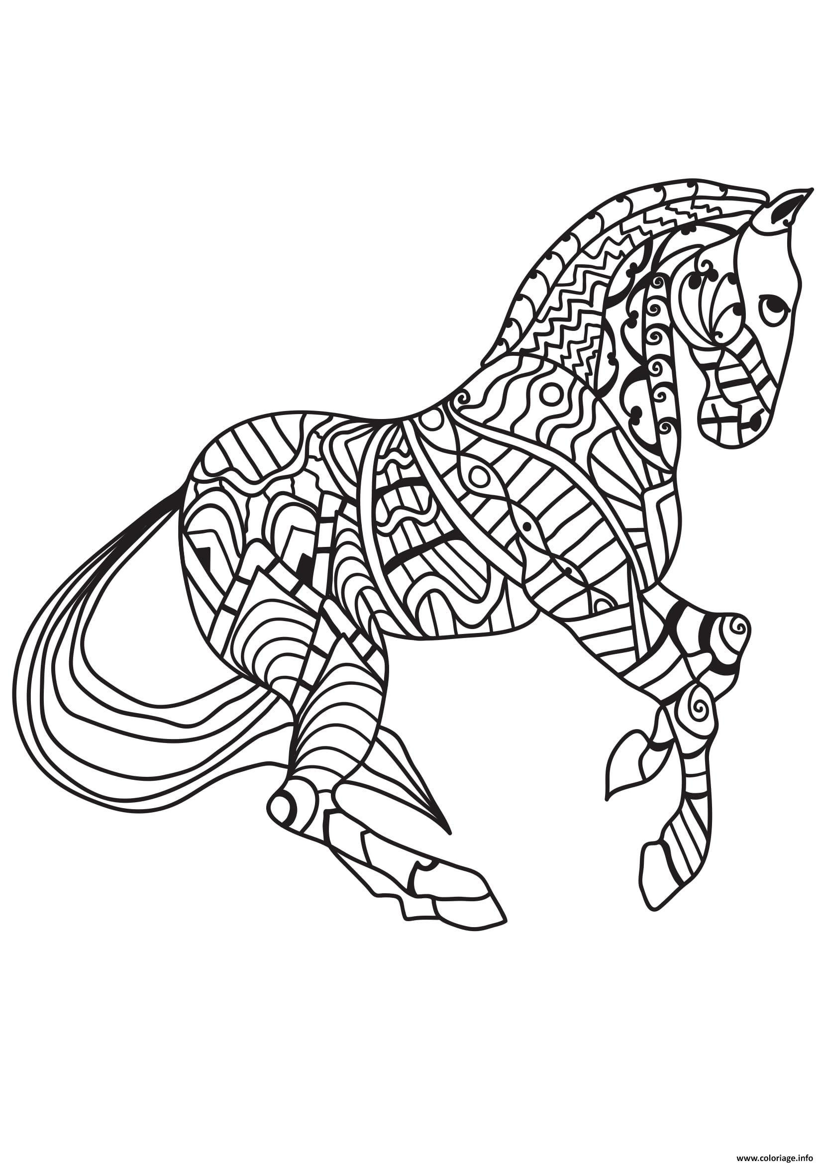 Dessin cheval pour adulte 29 Coloriage Gratuit à Imprimer