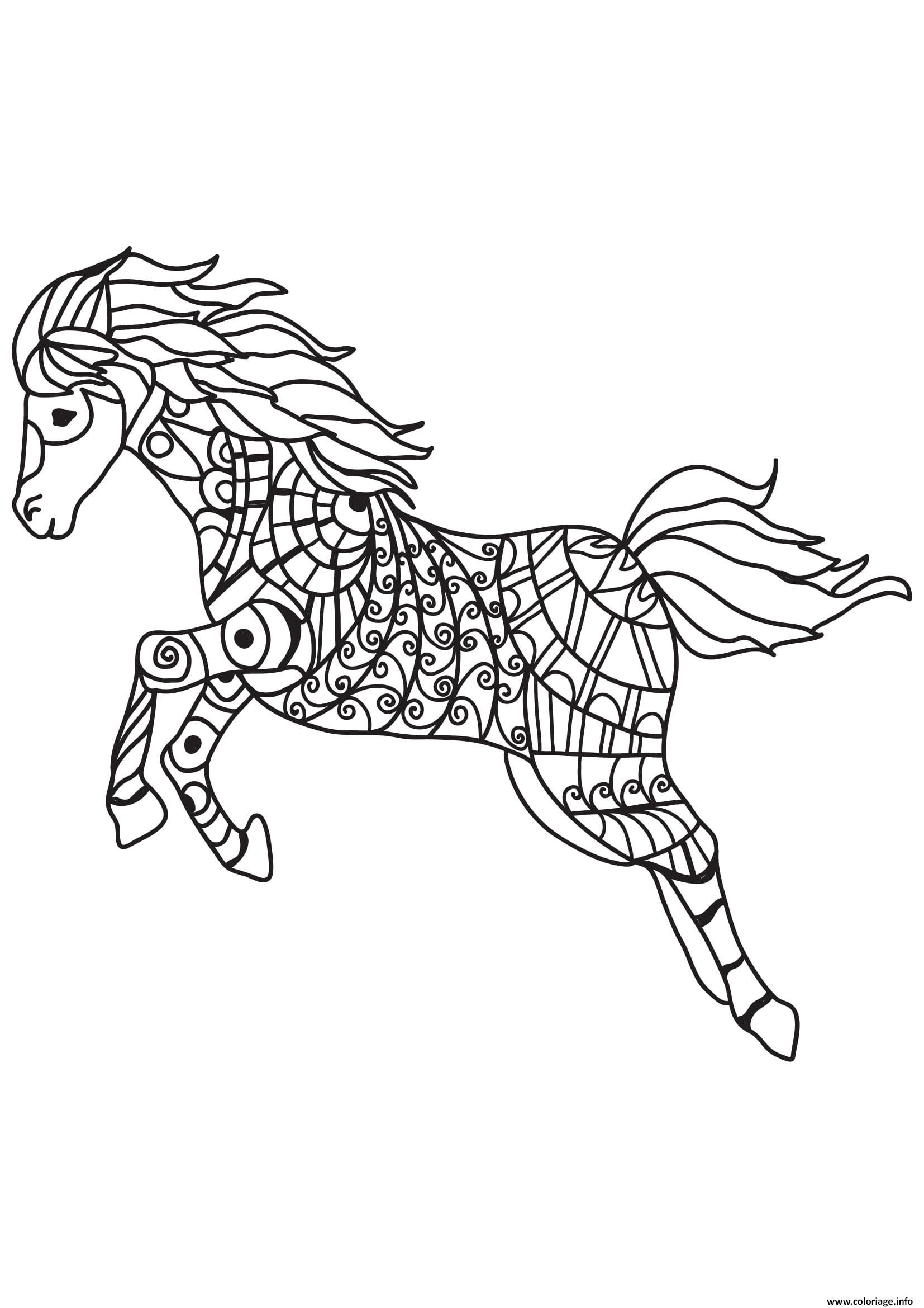 Dessin cheval pour adulte 30 Coloriage Gratuit à Imprimer