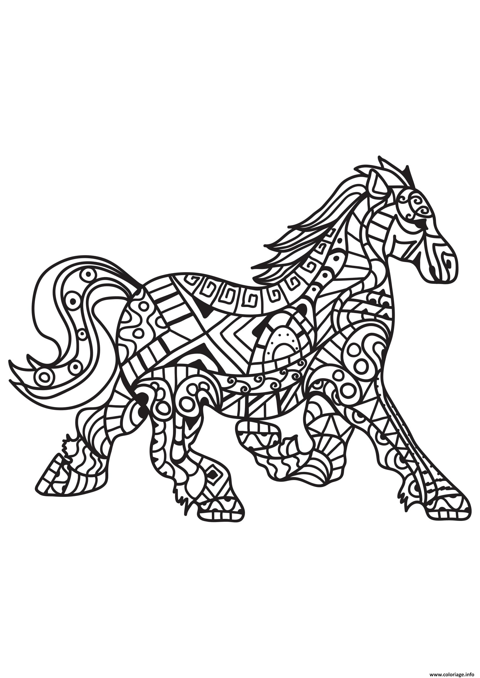 Coloriage Adulte Cheval Antistress 04 Jecolorie Com