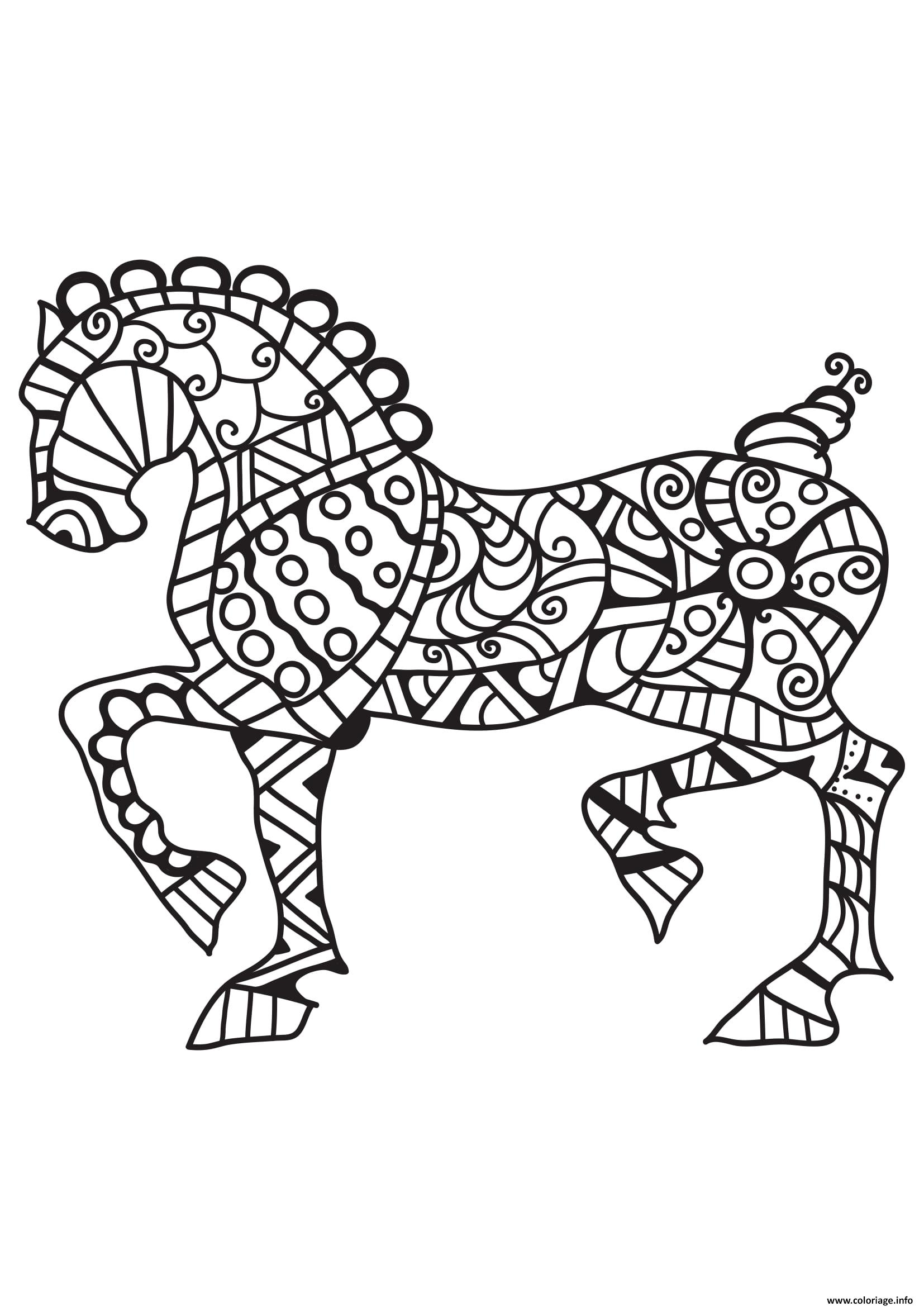 Coloriage adulte cheval mandala - Mandala de chevaux ...