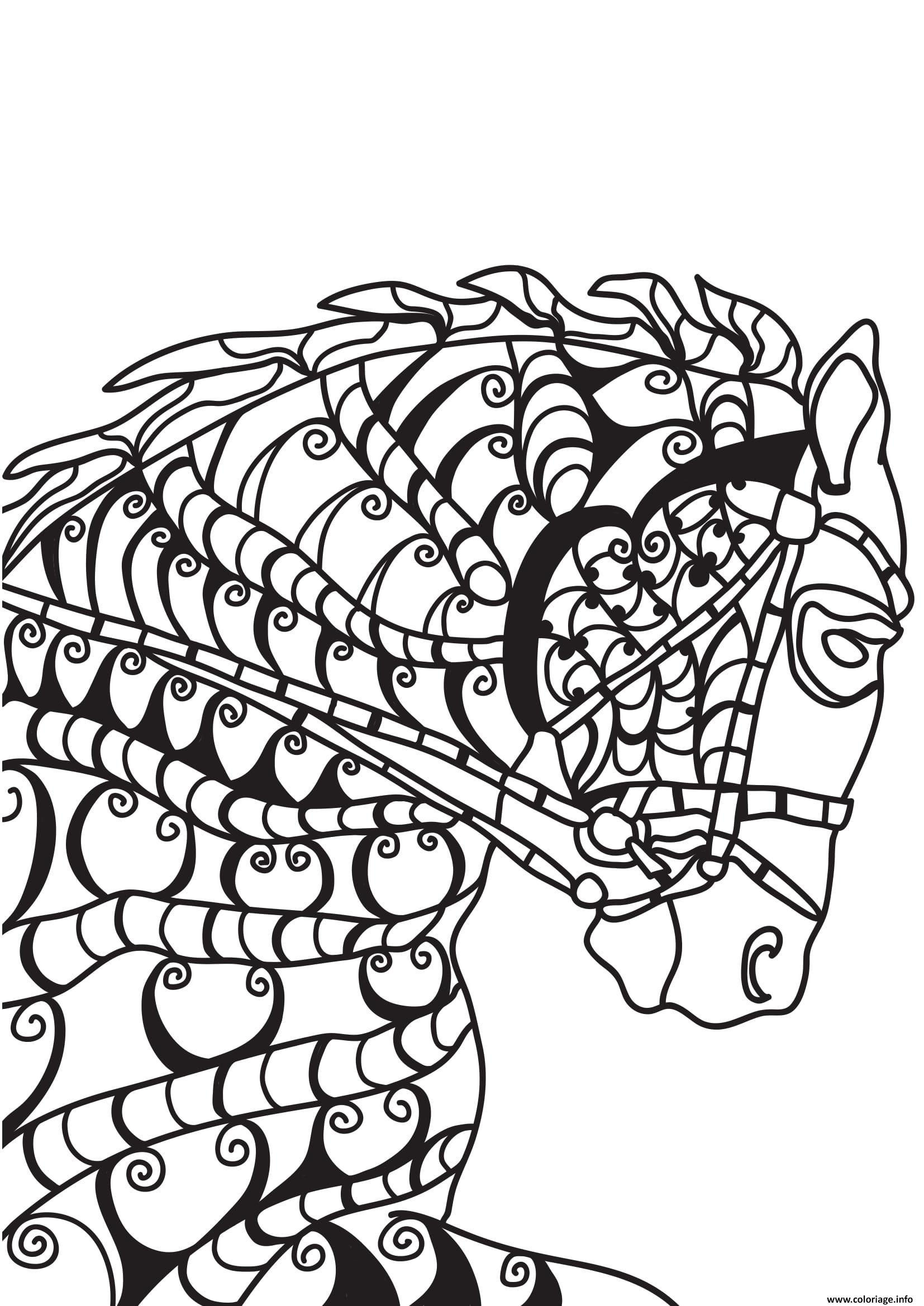 Dessin adulte cheval tete de front Coloriage Gratuit à Imprimer