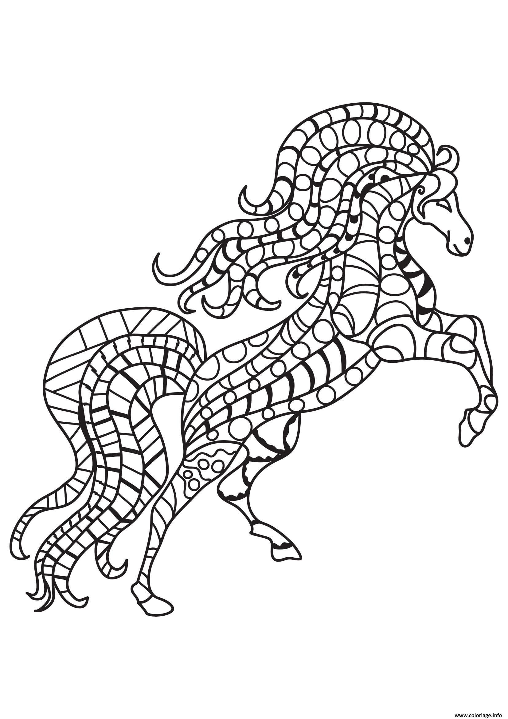 Dessin adulte cheval au galot 17 Coloriage Gratuit à Imprimer