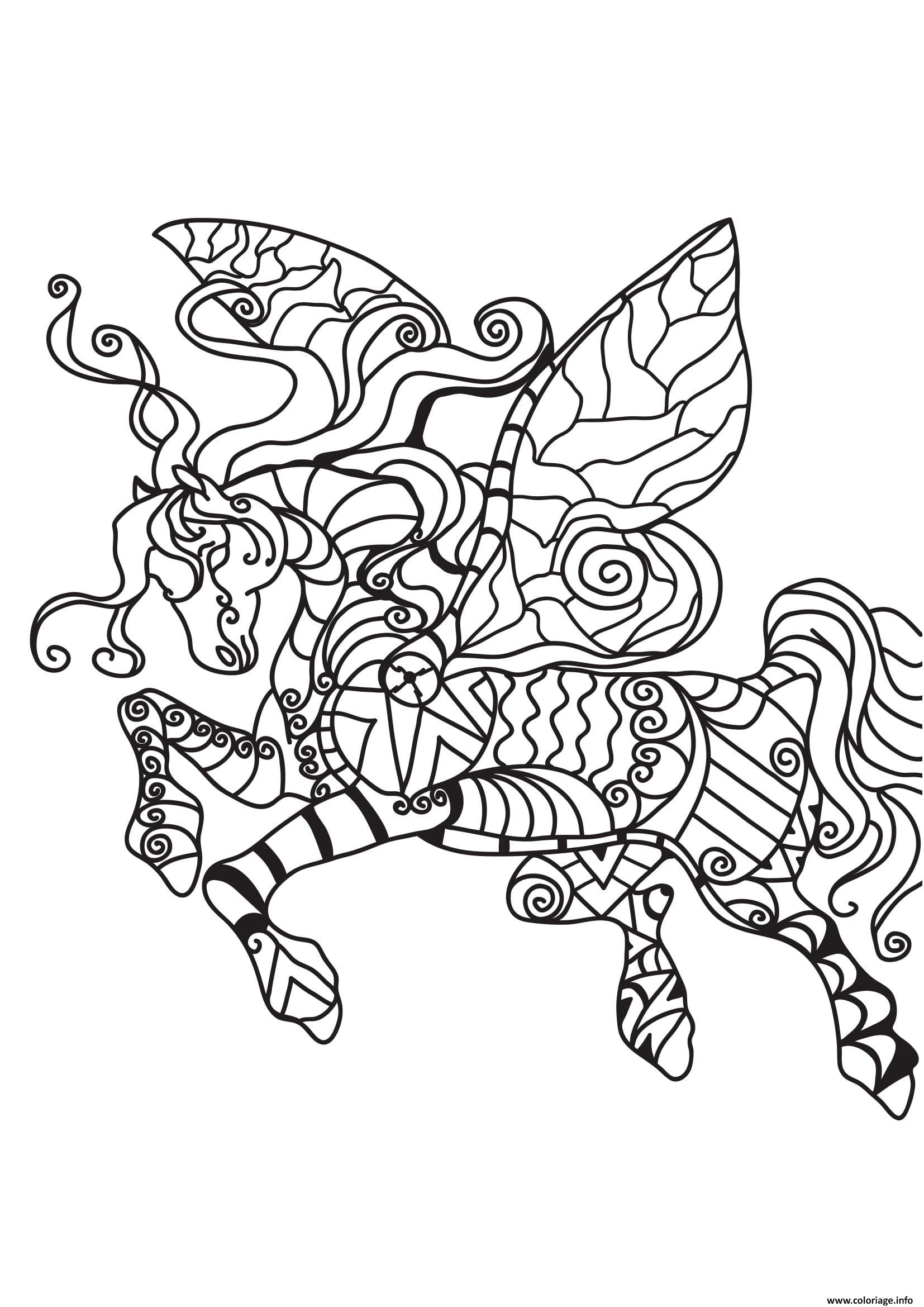 Dessin adulte cheval licorne dans les airs Coloriage Gratuit à Imprimer