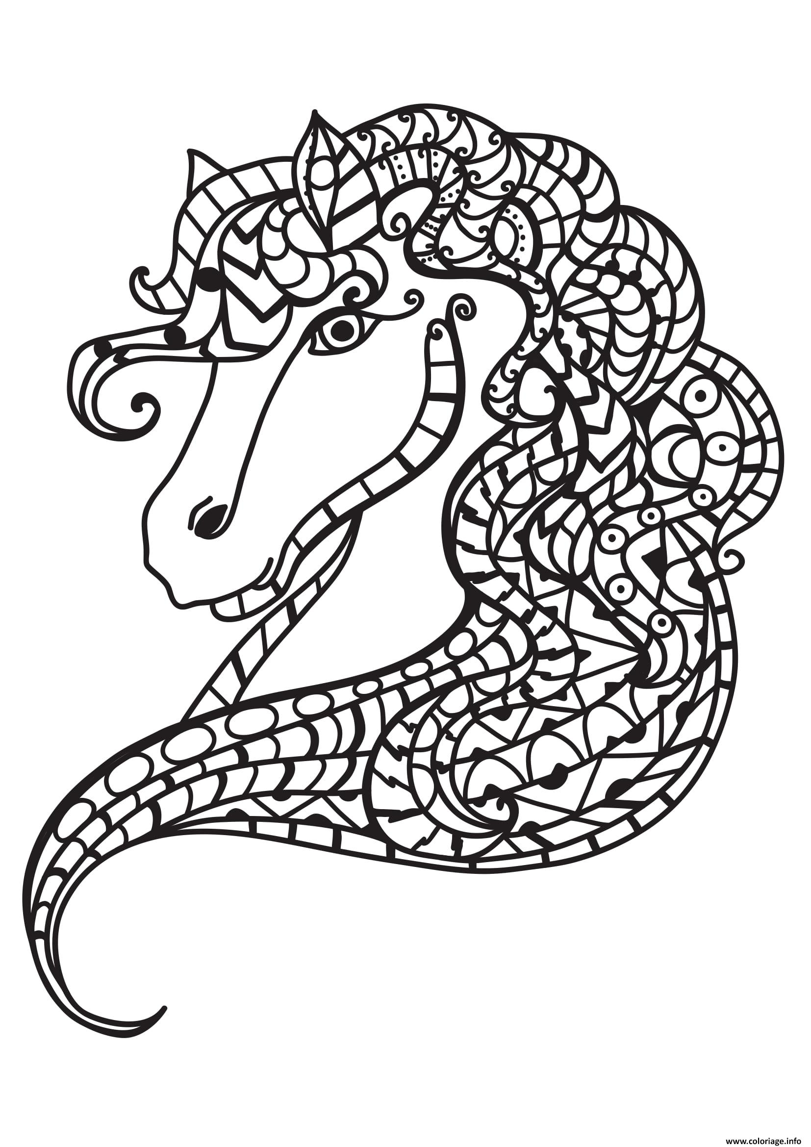 Dessin adulte cheval antistress 07 Coloriage Gratuit à Imprimer