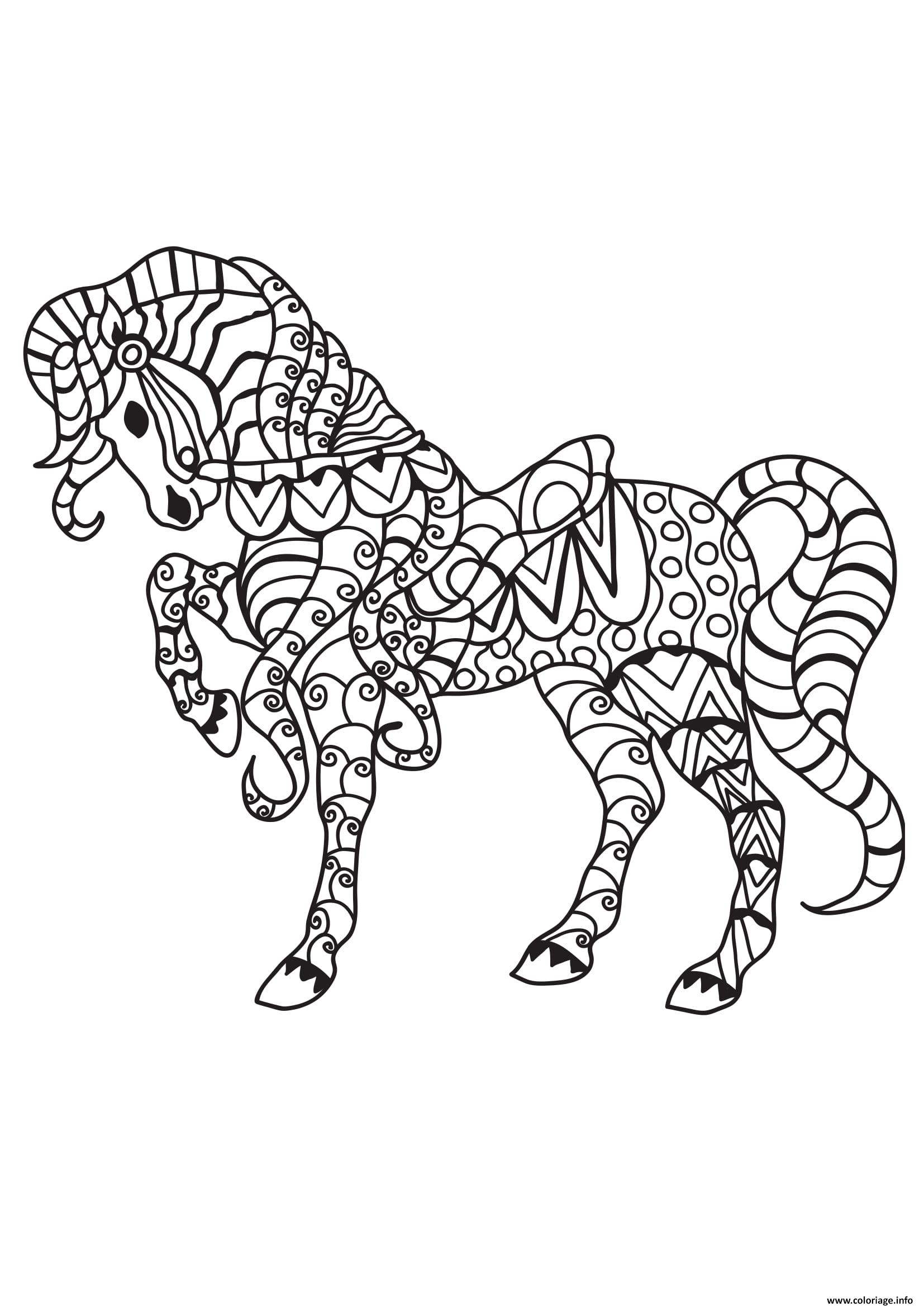 Dessin adulte cheval au galot 19 Coloriage Gratuit à Imprimer