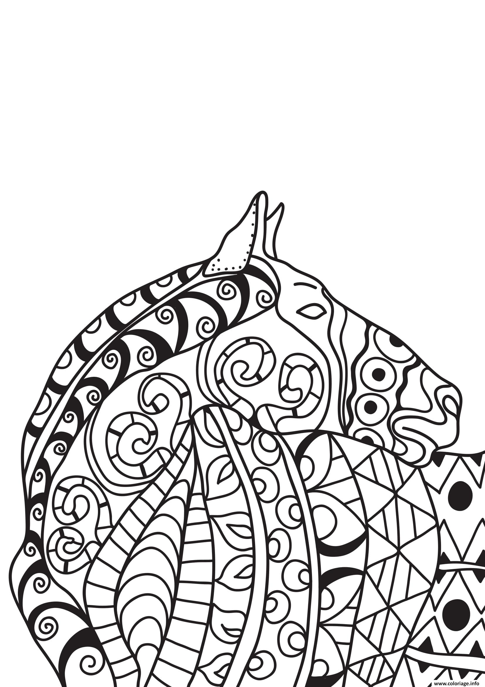 Dessin adulte cheval zentangle 14 Coloriage Gratuit à Imprimer