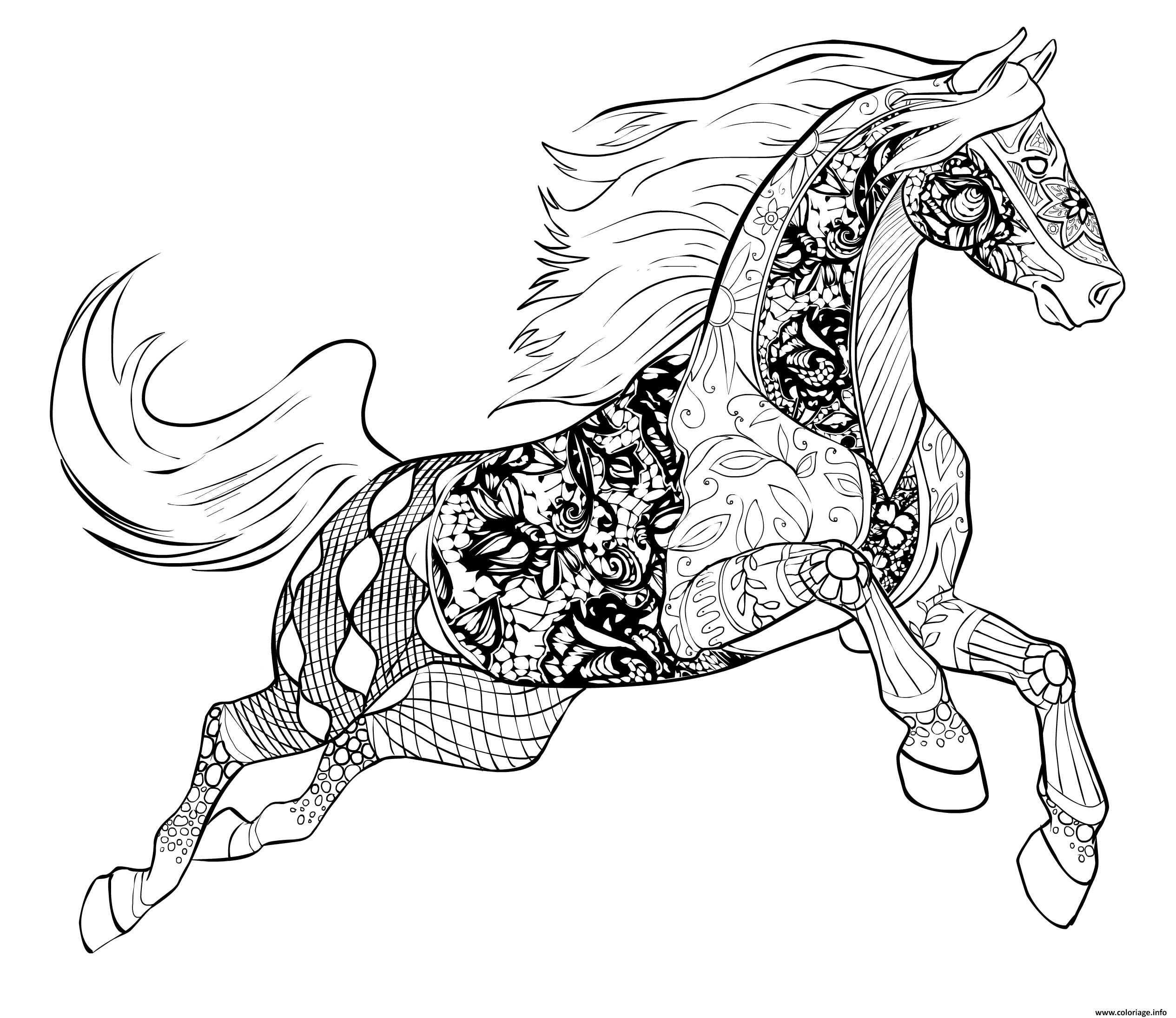 Coloriage Cheval Zen.Coloriage Cheval Adulte Par Selah Works Jecolorie Com