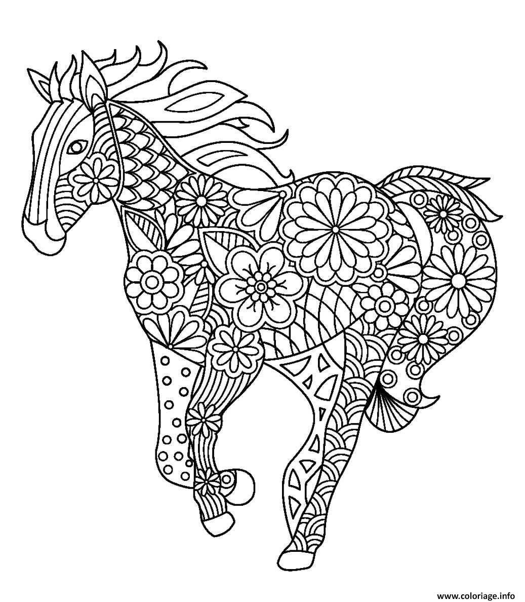 Coloriage cheval mandala adulte en course - Mandala de chevaux ...