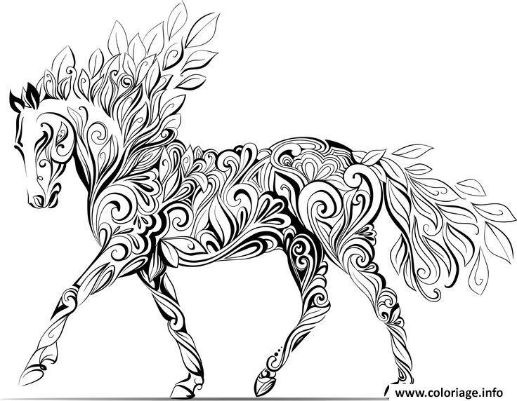 Dessin adulte cheval fleurs nature Coloriage Gratuit à Imprimer