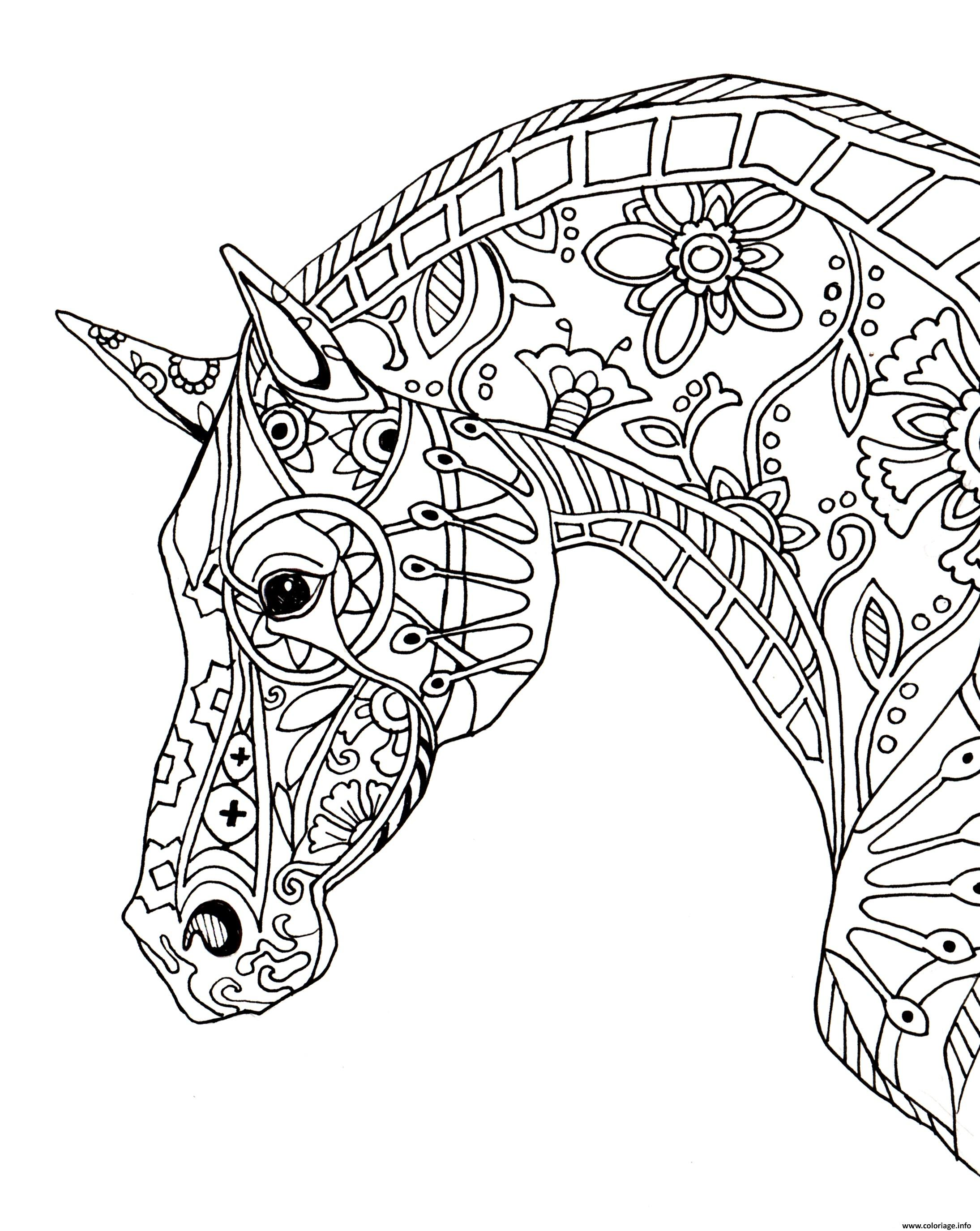 Coloriage Cheval Zen.Coloriage Cheval Adulte Decorative Horse Profile Jecolorie Com