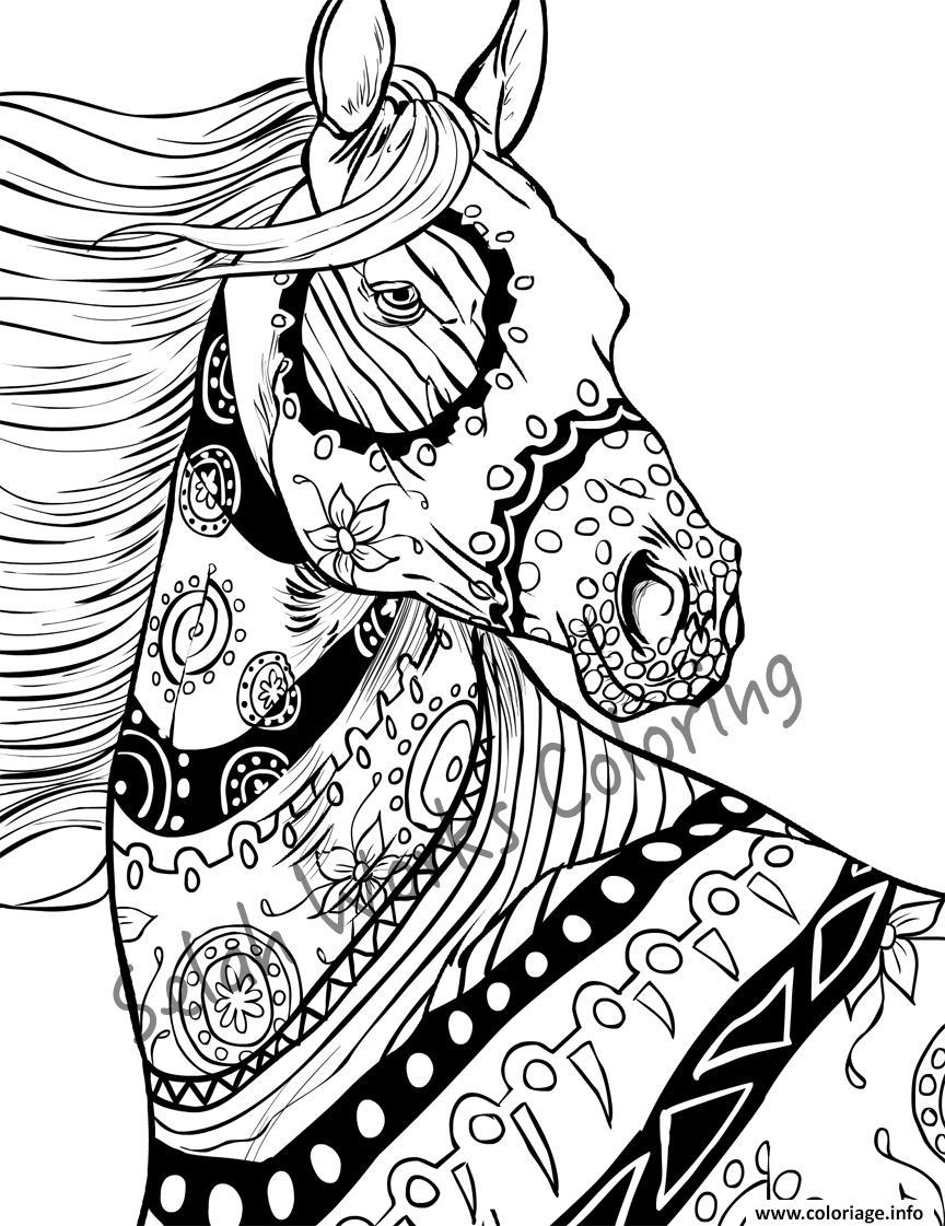 Dessin superbe adulte cheval nature Coloriage Gratuit à Imprimer