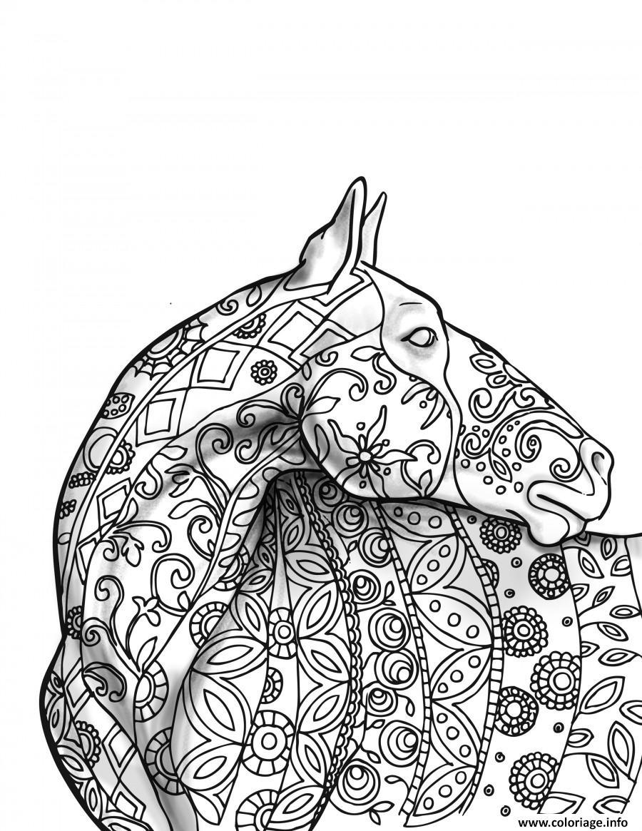 Dessin adulte cheval 3d Coloriage Gratuit à Imprimer