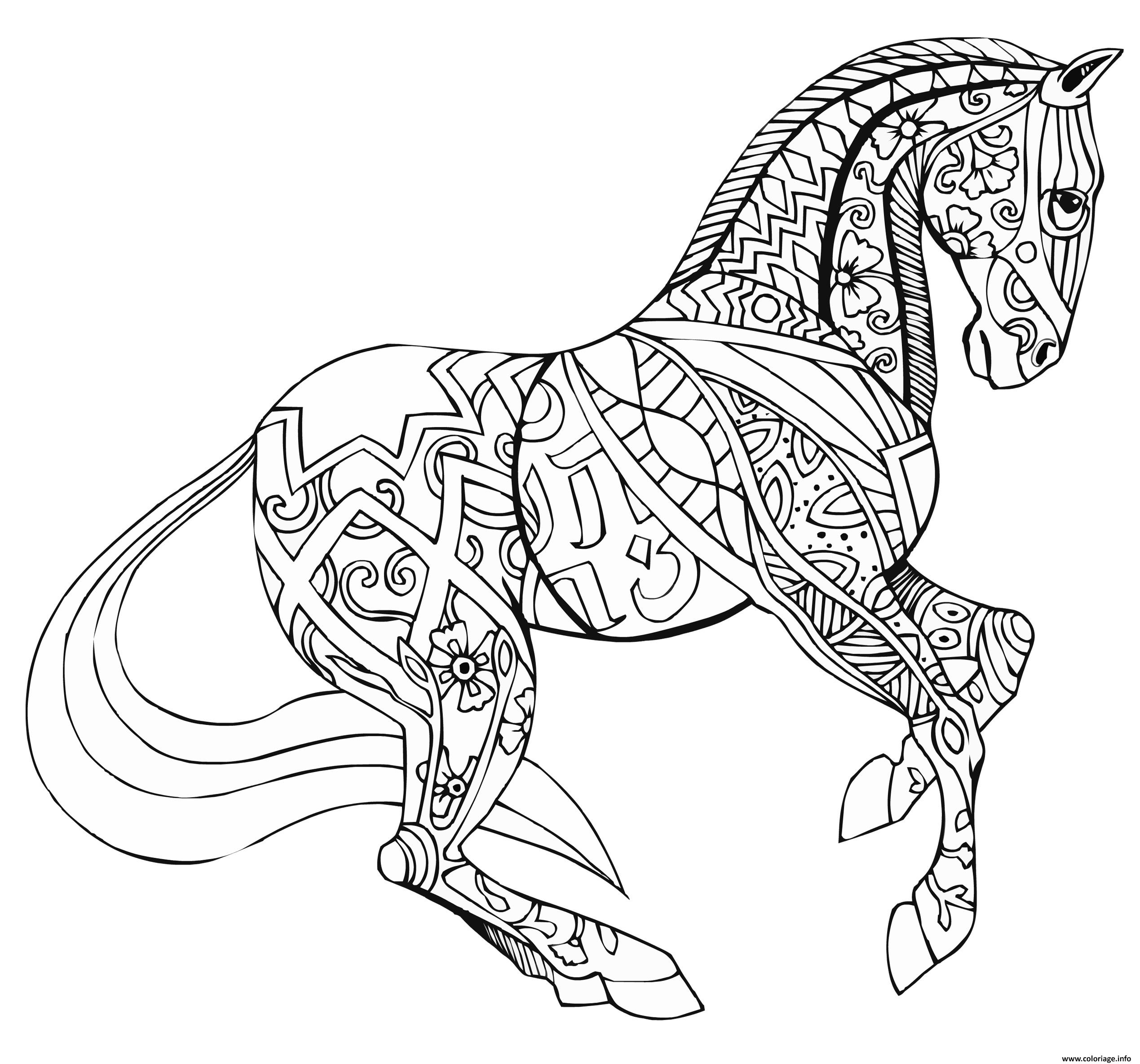 Coloriage adulte cheval par selah works dessin - Cheval coloriage en ligne ...