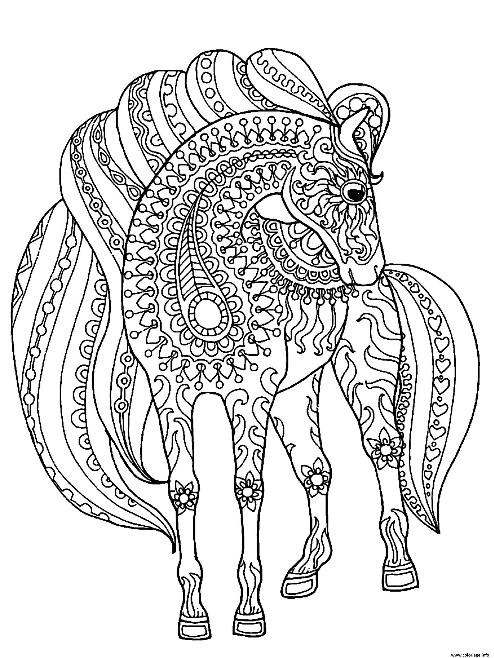 Dessin adulte cheval simple zentangle patterns Coloriage Gratuit à Imprimer