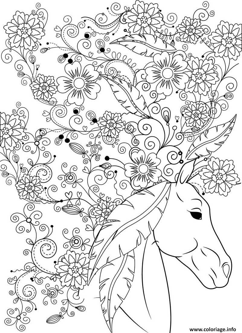 Dessin sublime cheval animal fleurs pour adulte Coloriage Gratuit à Imprimer