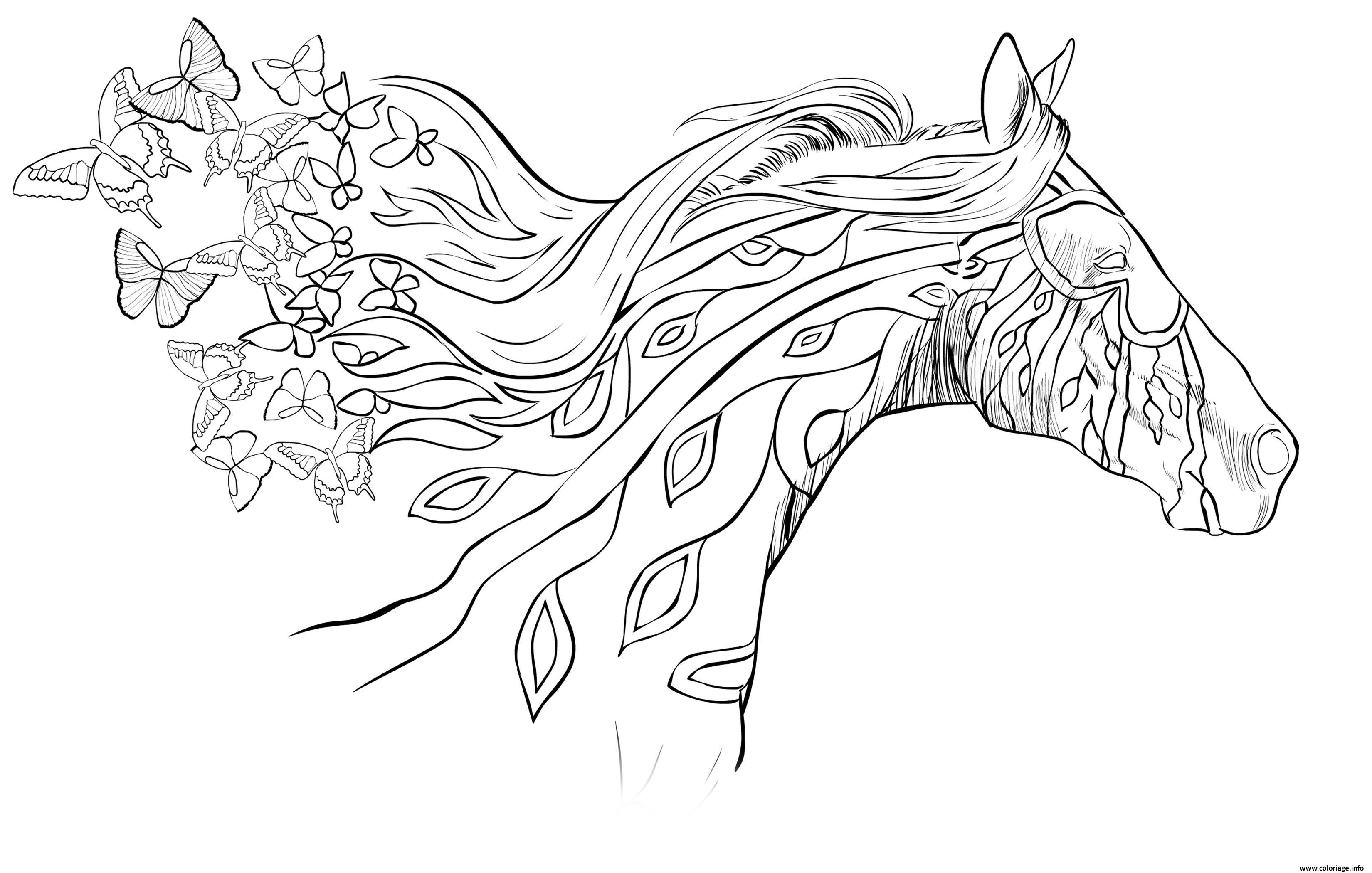 Dessin adulte cheval au galot avec papillons dans les airs Coloriage Gratuit à Imprimer