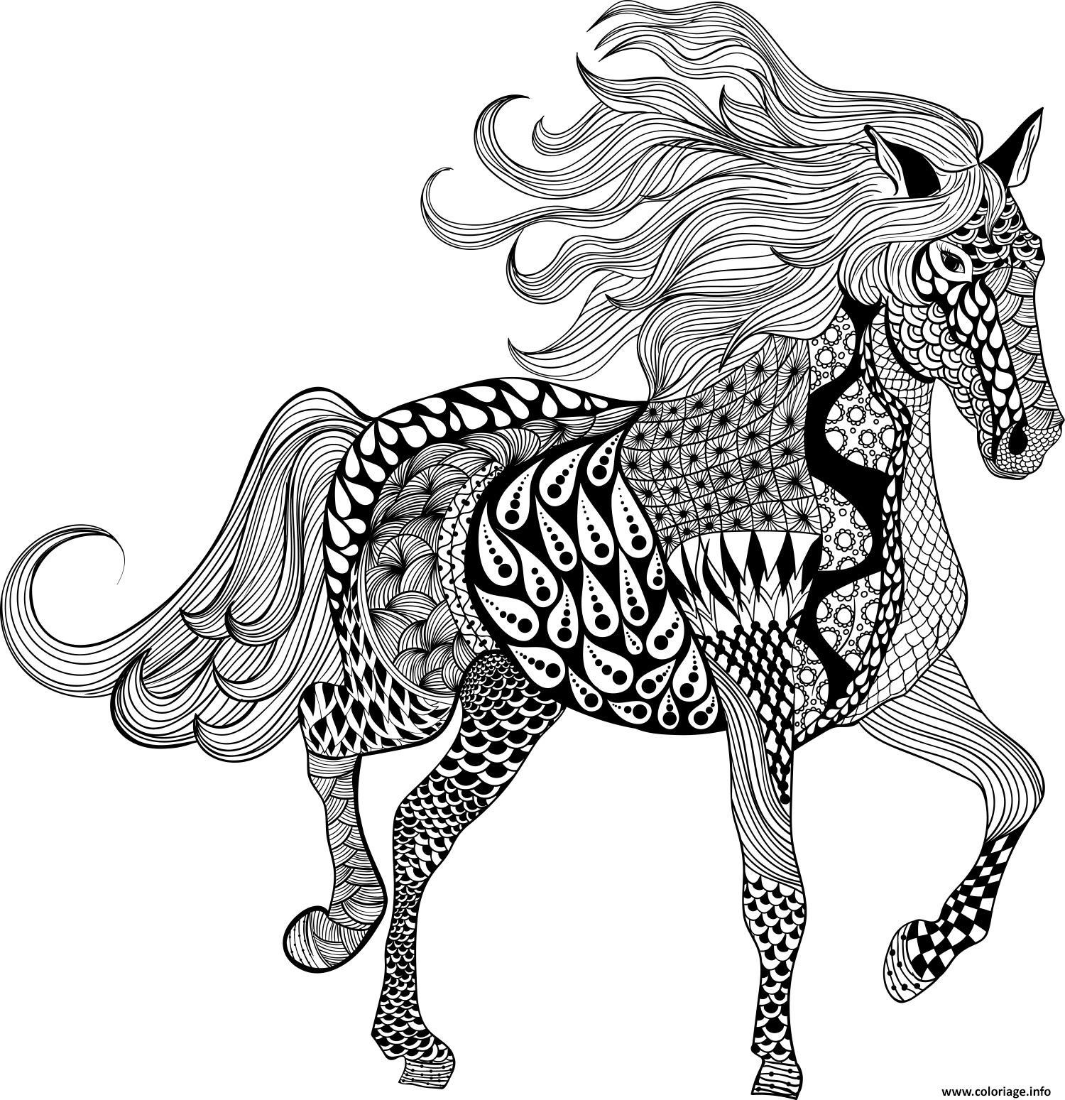 Coloriage adulte mandala horse - Mandala de chevaux ...
