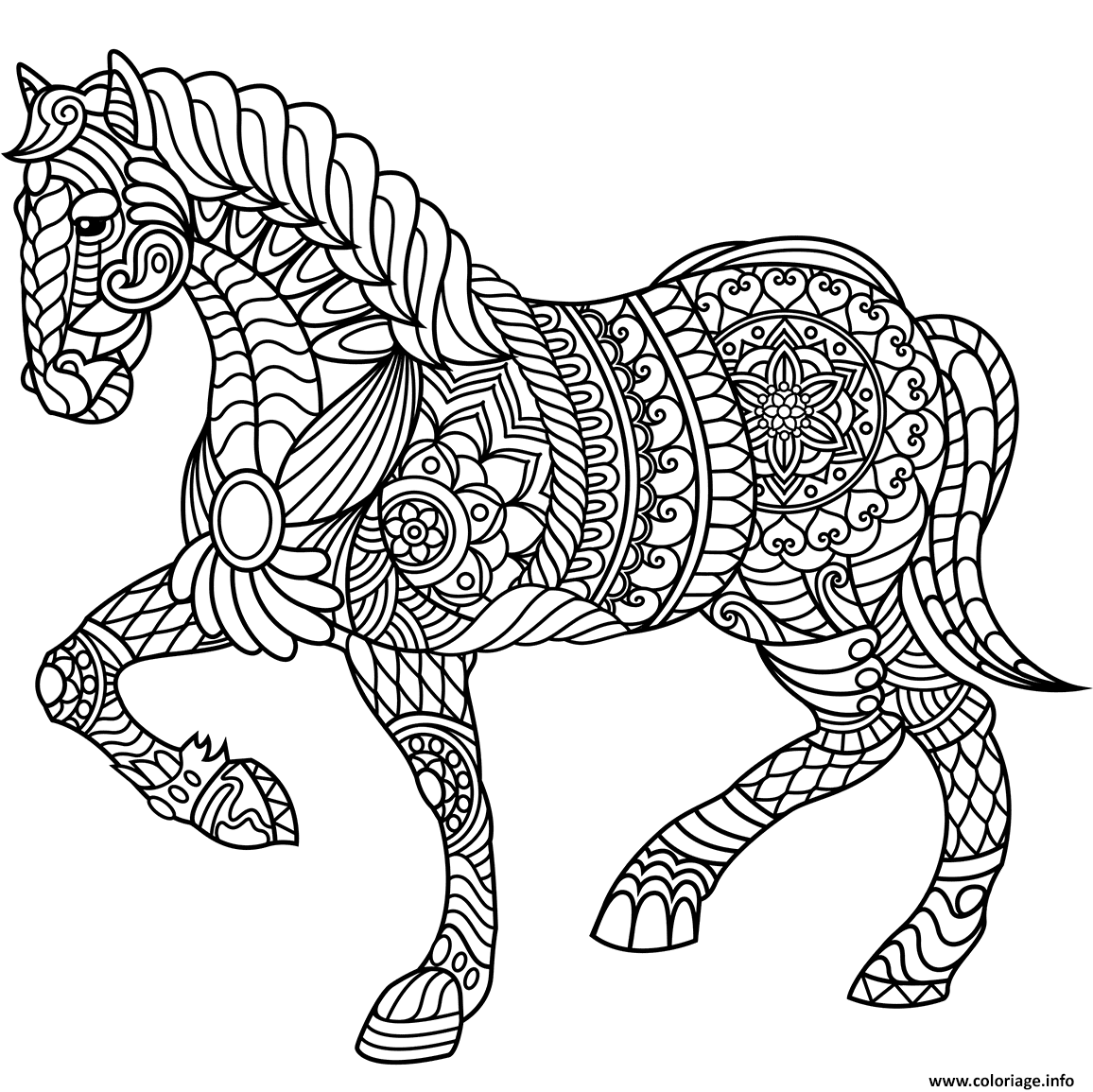 Coloriage Cheval Zen.Coloriage Cheval Zentangle Adulte Jecolorie Com