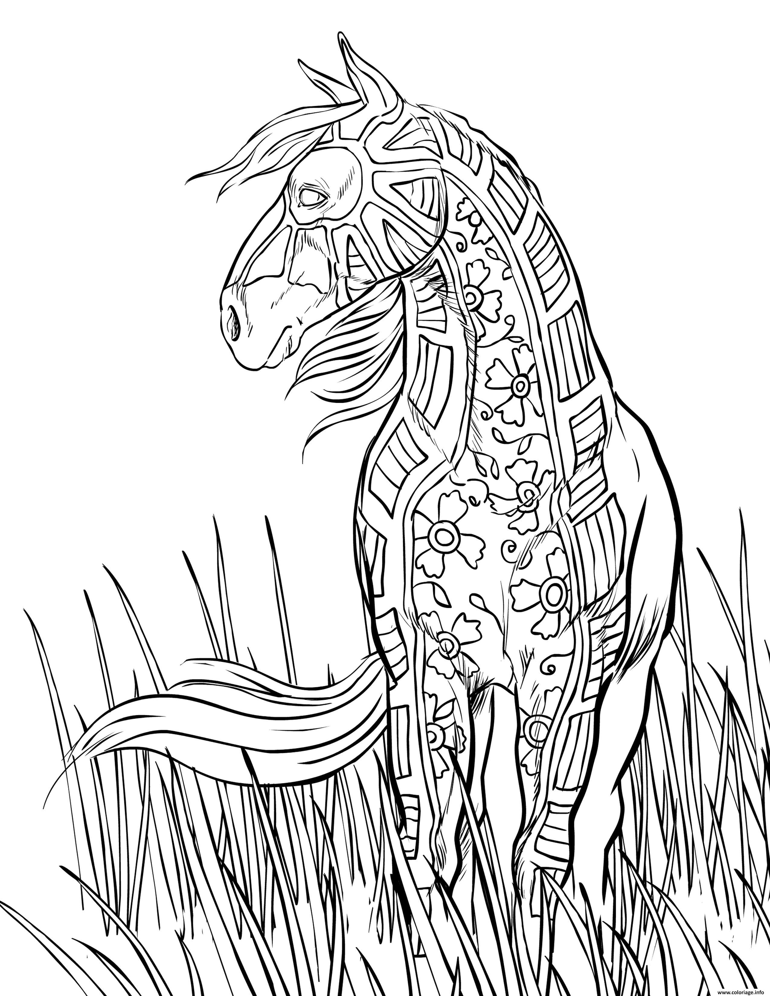 Dessin horse cheval dans la nature adulte Coloriage Gratuit à Imprimer