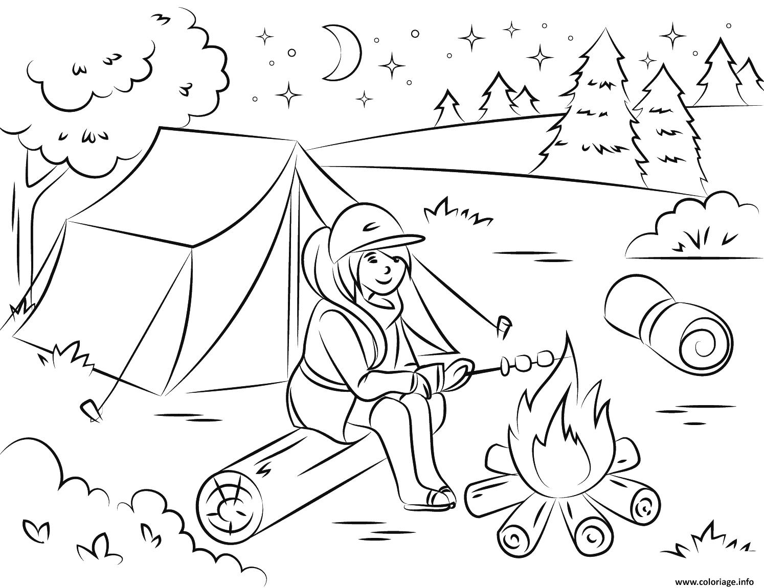 Dessin camping fille chauffe des guimauves ete vacance Coloriage Gratuit à Imprimer