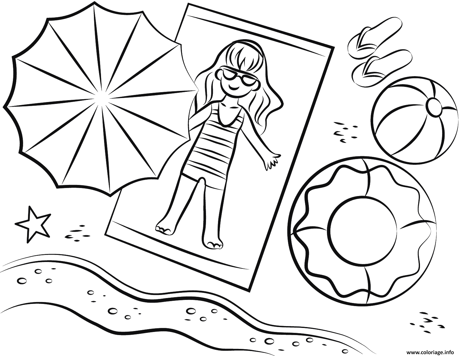 Dessin plage bronsage en profitant du soleil Coloriage Gratuit à Imprimer