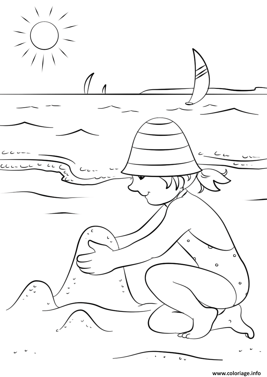 Dessin profite de lete et des vacances sur la plage sable fille Coloriage Gratuit à Imprimer