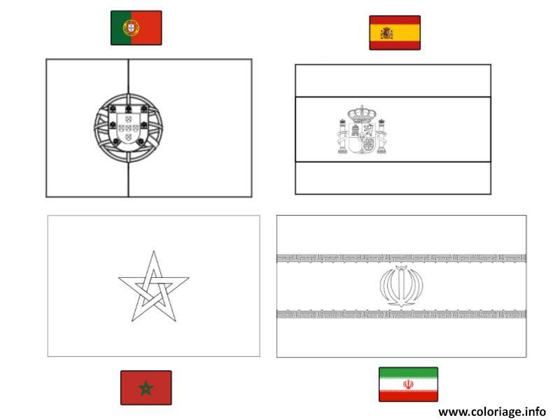 Coloriage Fifa Coupe Du Monde 2018 Groupe B Portugal Espagne Maroc Iran