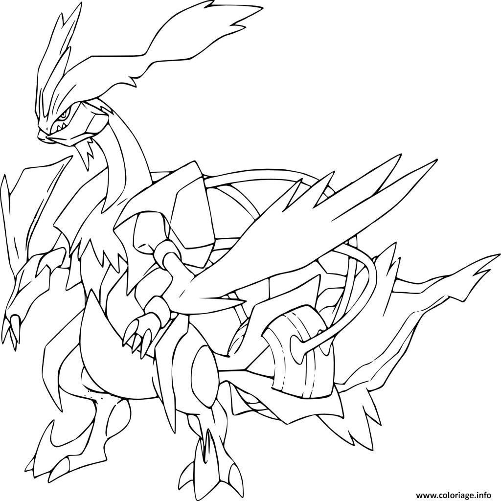 Coloriage Kyurem Blanc Pokemon Legendaire Dessin