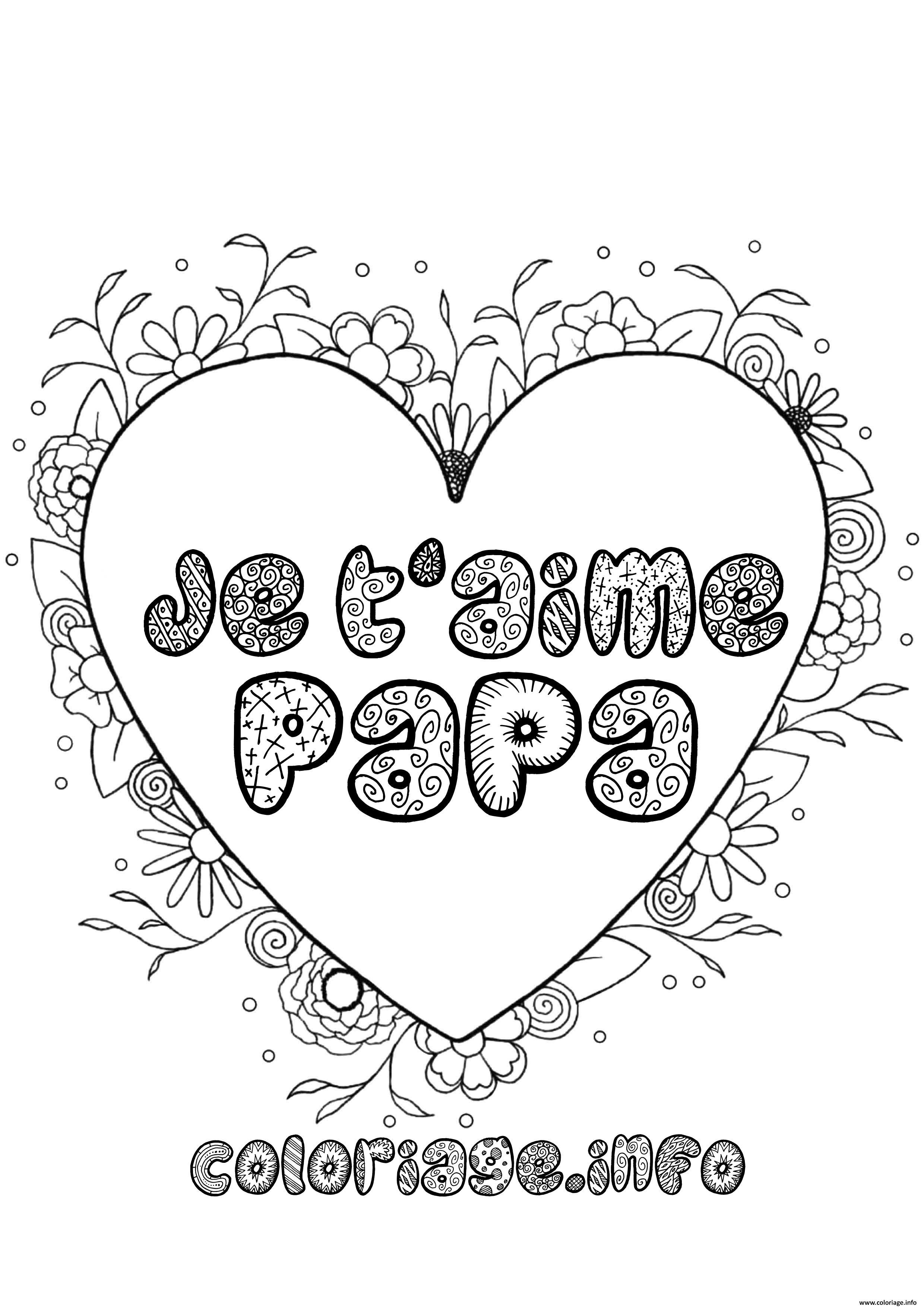 Coloriage Fete Des Peres Je Taime Papa Dessin Fete Des Peres à imprimer