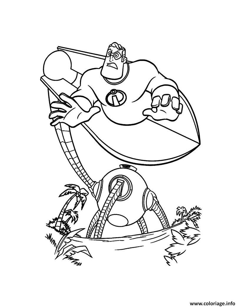 Dessin les indestructibles attaque par un robot Coloriage Gratuit à Imprimer