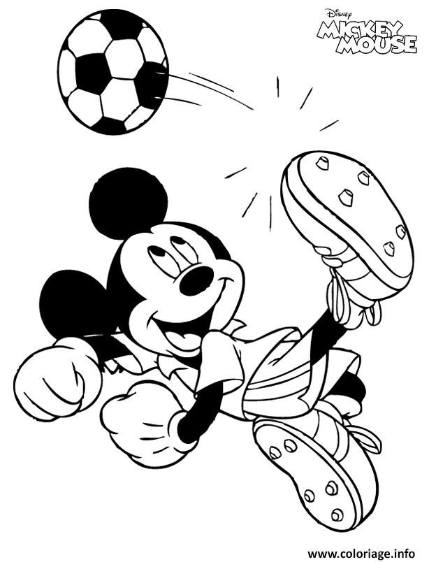 Dessin mickey mouse joue au foot Coloriage Gratuit à Imprimer