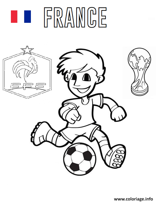Coloriage France Football Coupe Du Monde 2018 Dessin