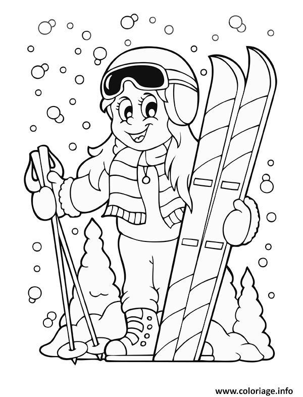 Coloriage Sport Hiver Le Ski Dessin Sport à imprimer