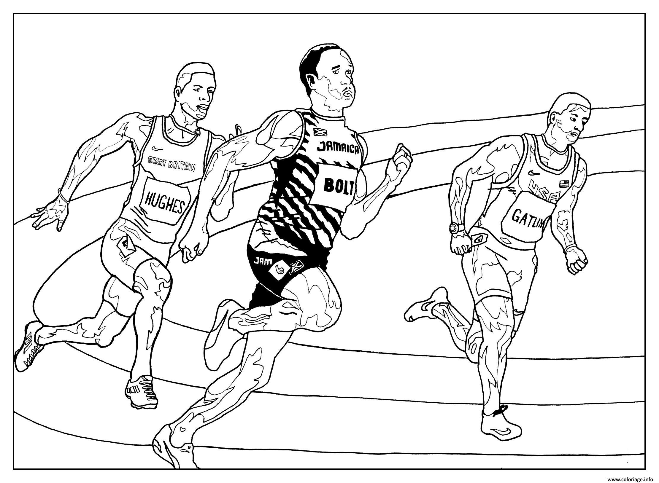 Dessin sport course athletisme Coloriage Gratuit à Imprimer