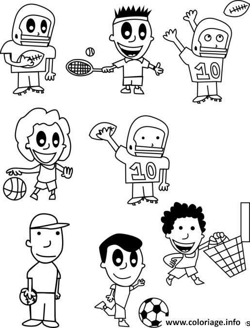 Dessin liste de sports Coloriage Gratuit à Imprimer