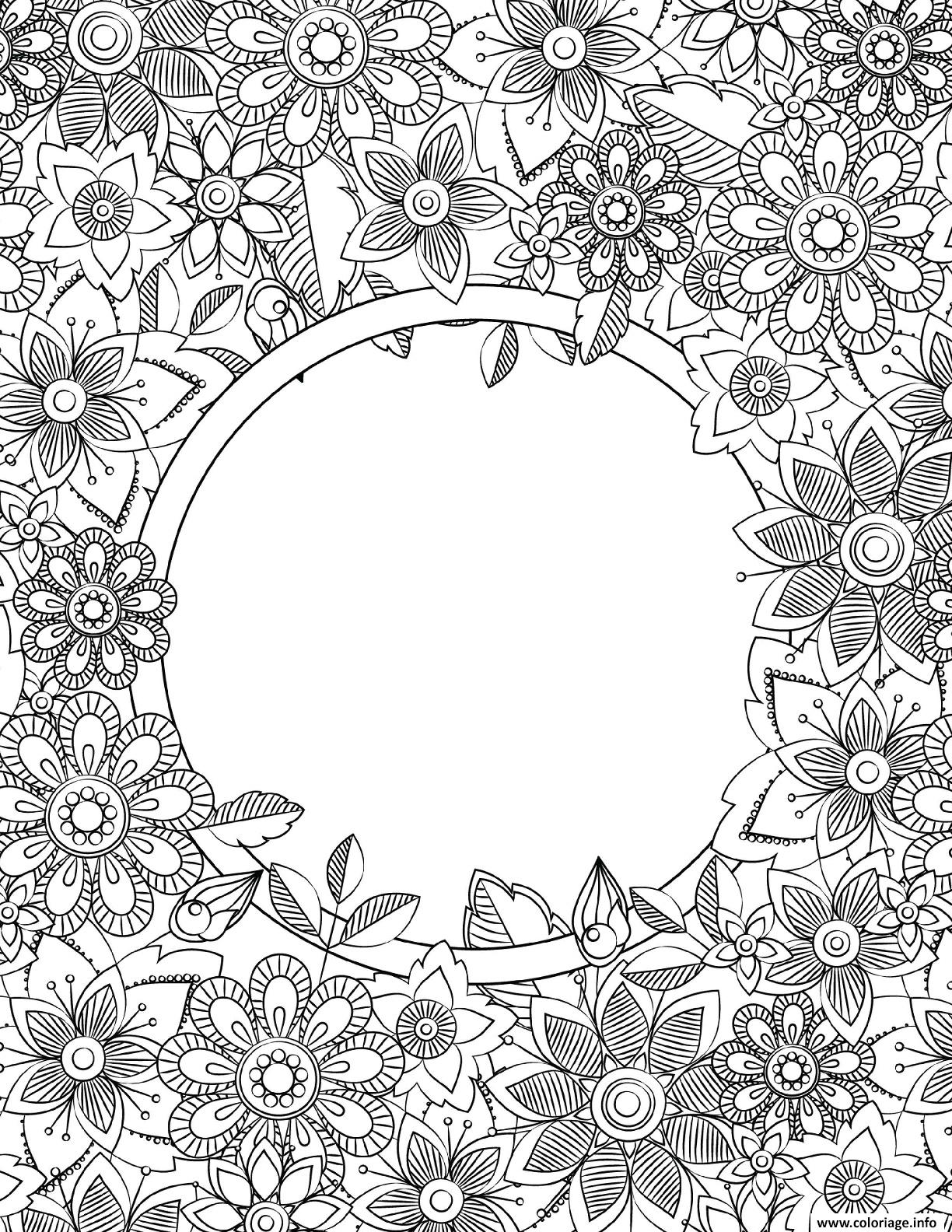 Dessin Binder Cover Adult Flowers Coloriage Gratuit à Imprimer