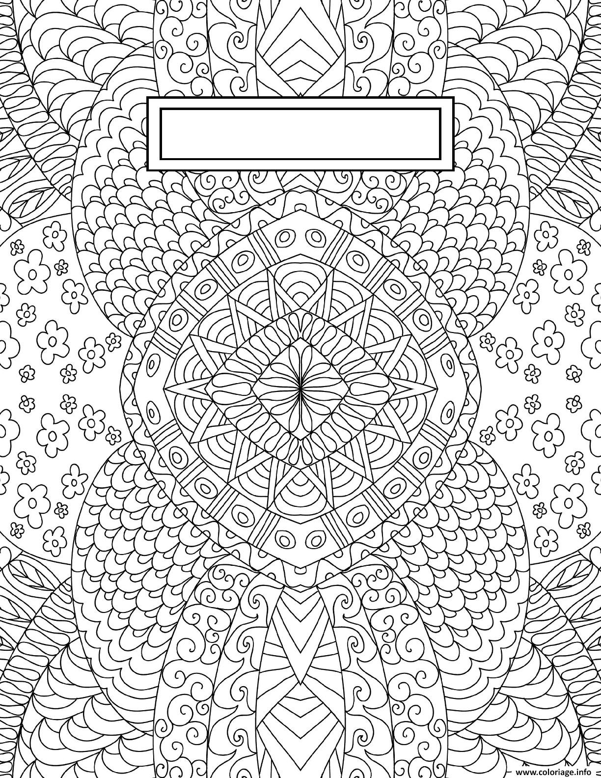 Coloriage Binder Cover Adult Relaxing Dessin à Imprimer