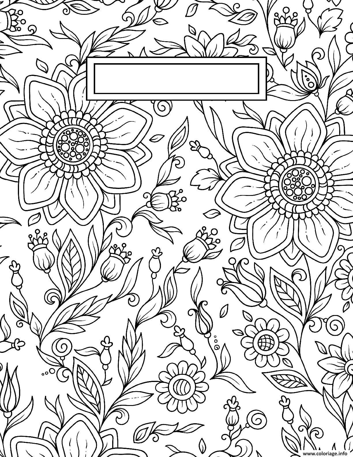 Dessin Binder Cover Adult Flowers Antistress Coloriage Gratuit à Imprimer