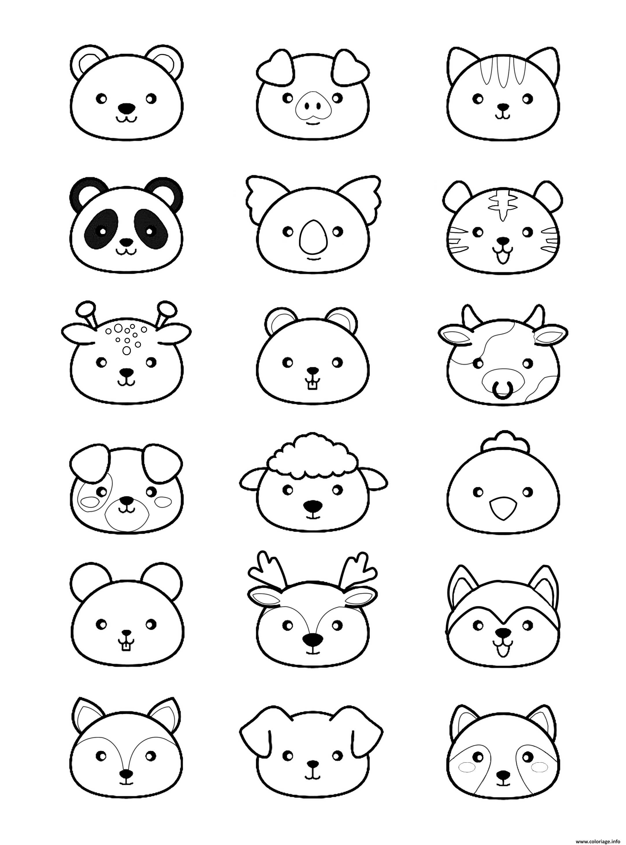 Coloriage Kawaii Animaux Dessin