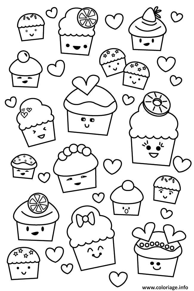 Coloriage Kawaii Cupcake Muffins Dessin