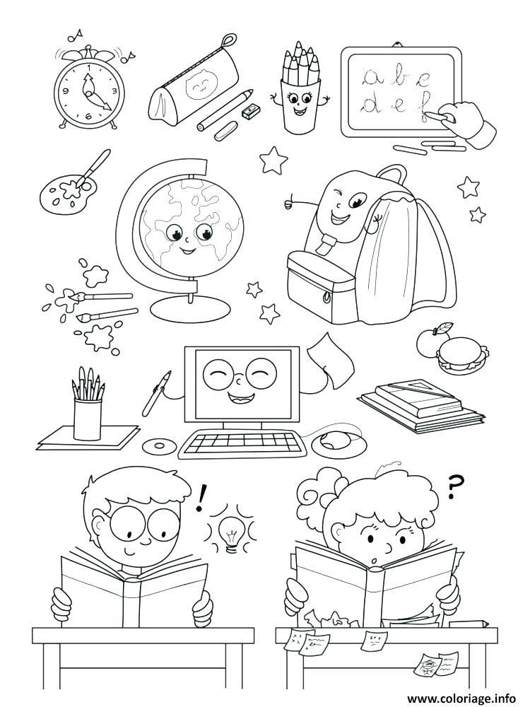 Coloriage ecole salle de classe maternelle dessin - Coloriage classe maternelle ...