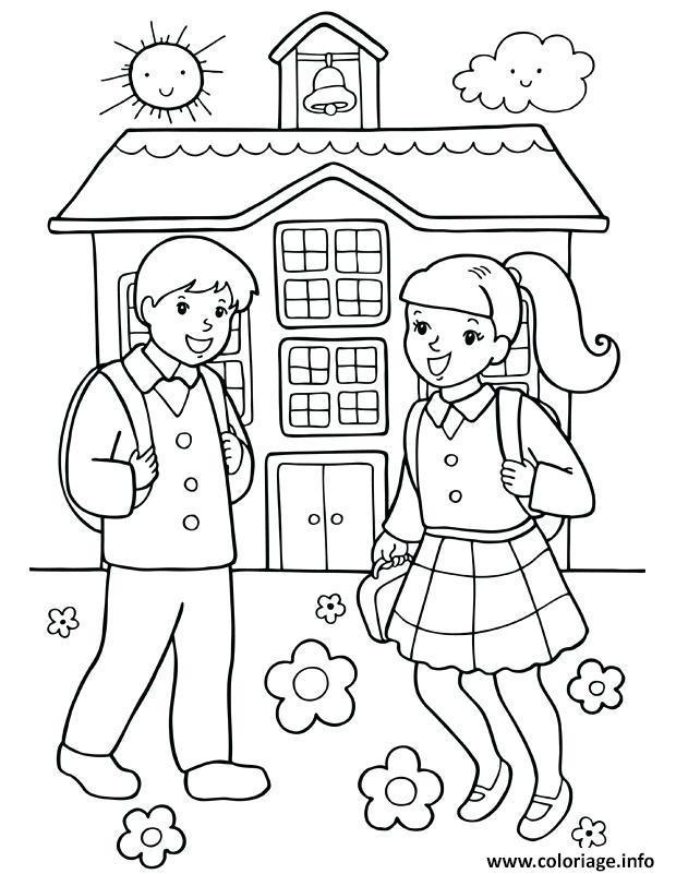 Coloriage fille et garcon rentree scolaire dessin - Dessin fille et garcon ...