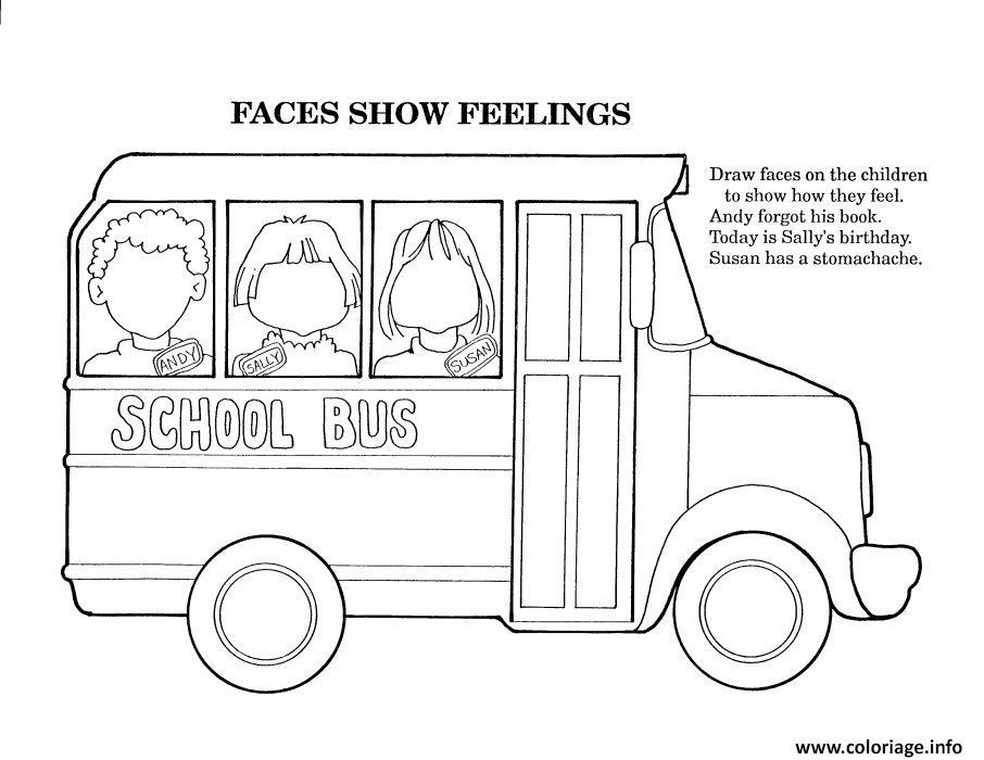 Coloriage Andy Sally Susan Dans Le Bus Scolaire Dessin