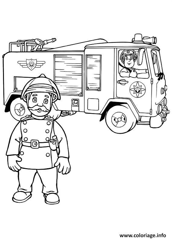 Coloriage sam le pompier dans un camion et son capitaine - Dessin pompier a imprimer ...
