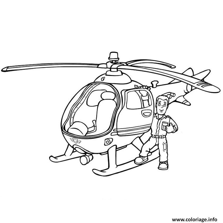 Dessin sam le pompier dans un helicopter Coloriage Gratuit à Imprimer