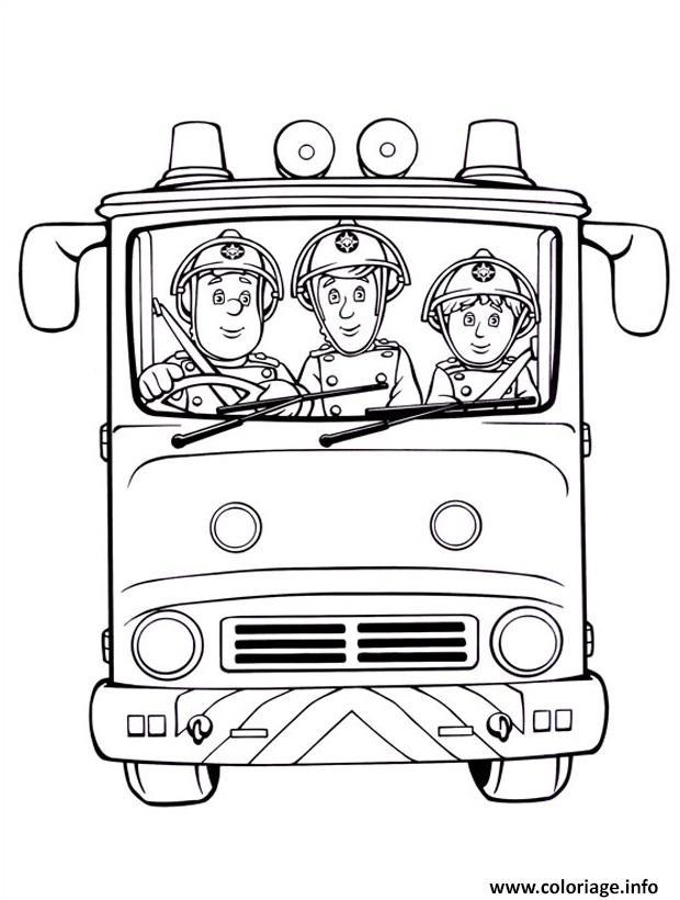 Coloriage Sam Le Pompier Et Camarades Dans Un Camion De