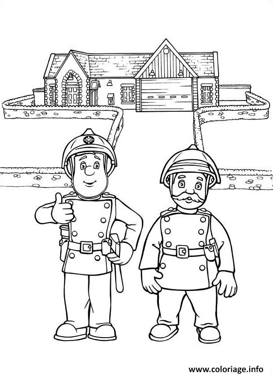 Coloriage Sam Le Pompier Et Son Chef Dessin Sam Le Pompier A Imprimer
