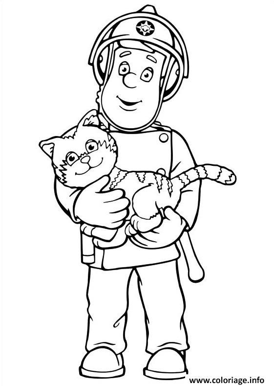 Dessin sam le pompier sauve un chat Coloriage Gratuit à Imprimer